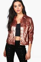 boohoo Juliet Sequin Trucker Jacket bronze