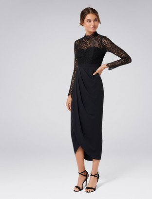 Forever New Larissa Petite Lace Drape Maxi Dress - Black - 4