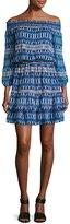 Shoshanna Rosalyn Off-the-Shoulder Printed Silk Blouson Dress, Navy