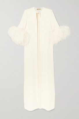 Elie Saab Feather-trimmed Cady Jacket - White