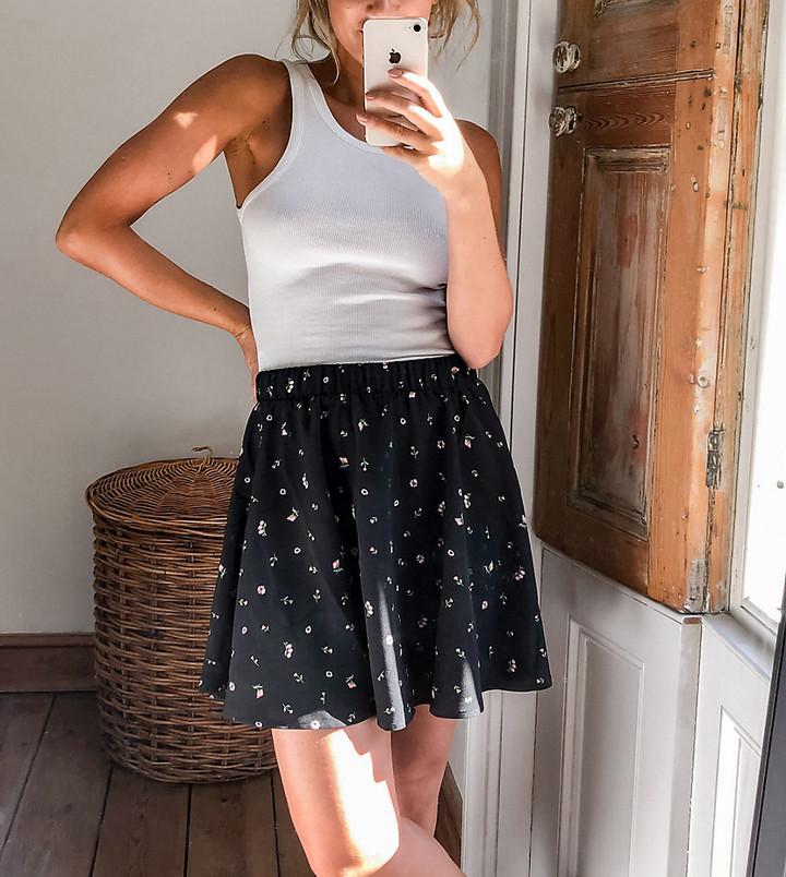 Monki Melissa printed mini skirt in black