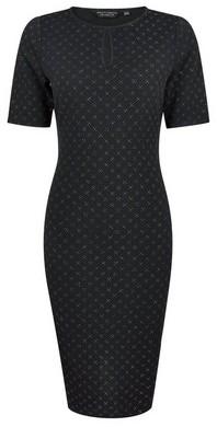 Dorothy Perkins Womens Black Keyhole Glitter Bodycon Dress, Black