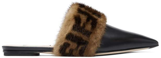 Fendi Black Forever Pointy Mink Slippers