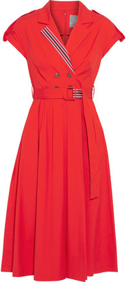 Lela Rose Belted Button-embellished Stretch Cotton-poplin Dress