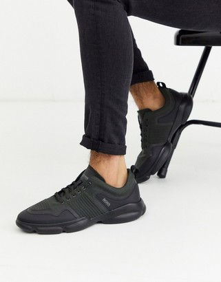 BOSS Newlight thick sole mesh trainers in black