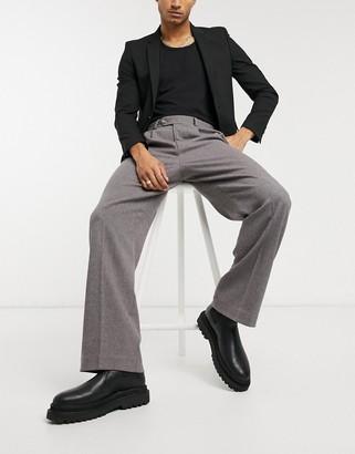 ASOS DESIGN high waisted wide leg smart pants in burgundy wool mix