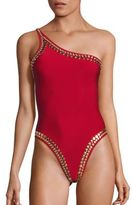 Norma Kamali Gold Studded One Shoulder Mio Swimsuit
