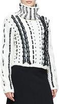 Altuzarra Caravan Leather-&-Lace Stitched Sweater, Cream