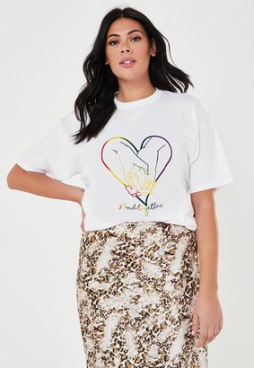 Missguided Plus Size White Rainbow Heart Graphic T Shirt