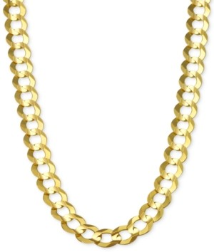 "Italian Gold 24"" Open Curb Link Chain Necklace (7mm) in Solid 14k Gold"