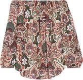 Haute Hippie Off-the-shoulder cutout printed silk crepe de chine blouse
