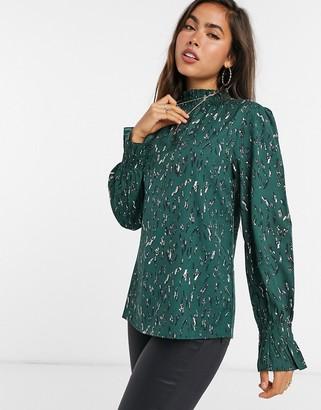 AX Paris high neck top in green abstract spot