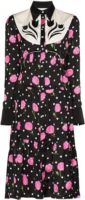 Paco Rabanne Western floral-print shirt dress