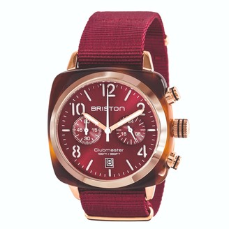 Briston Watches Briston Clubmaster Classic Chronograph Tortoise Shell Acetate, Red Sunray Dial And Rose Gold, Burgundy Nato Strap