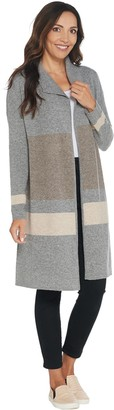 Martha Stewart Engineered Stripe Long Sweater Cardigan