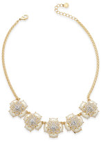 Charter Club Gold-Tone Pave & Imitation Pearl Flower Statement Necklace, Created for Macy's