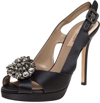 Valentino Dark Grey Satin Crystal Embellished Platform Slingback Sandals Size 37