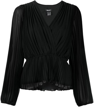 DKNY Crossover-Neck Pleated Blouse