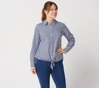 Isaac Mizrahi Live! Button Front Gingham Shirt w/ Ladder Lace