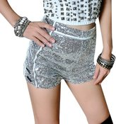 EGELBEL Women's High Waist Glittering Sequins Club Bar Mini Shorts
