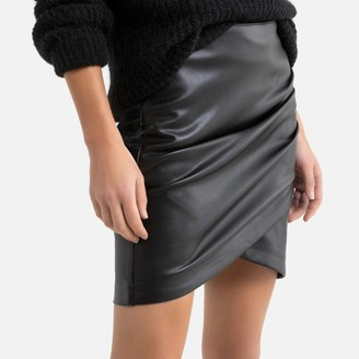 Vila Faux Leather Mini Skirt with Ruched Detail