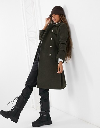 Gianni Feraud Green boxy fit military overcoat with black trims