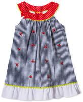 Rare Editions Ladybug Gingham Seersucker Dress, Little Girls