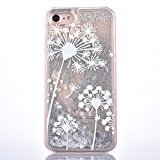 Sunvy iPhone 7 Case Dandelion Design Bling Liquid Floating Cover for iPhone 7 4.7inch with a Screen Protector (Silver)