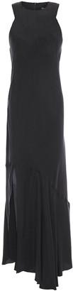 Ann Demeulemeester Asymmetric Frayed Twill Maxi Dress