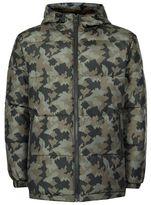 Topman Khaki Camo Hooded Puffer Jacket