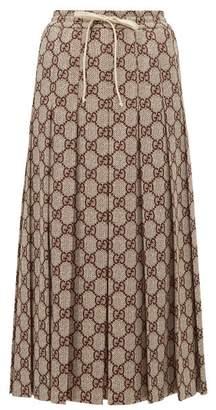 Gucci Gg-print Pleated Midi Skirt - Womens - Brown Multi