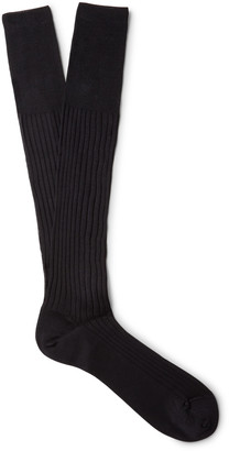 Ermenegildo Zegna Ribbed Cotton Over-The-Calf Socks
