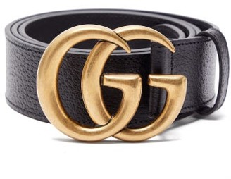 Gucci GG Textured-leather Belt - Mens - Black