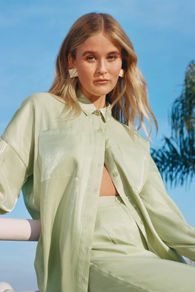 Nasty Gal Womens Your Shine is Now Satin Button-Down Shirt - Green - 8, Green