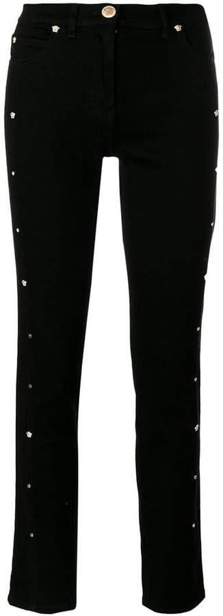 Versace Medusa stud cropped jeans