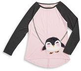 Jessica Simpson Girls 7-16 Faux Fur Penguin Colorblocked Top