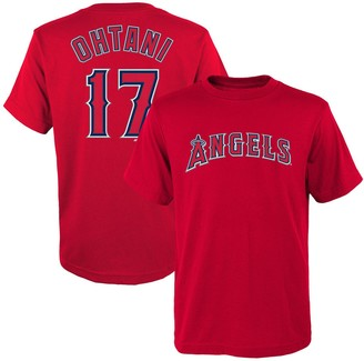 Majestic Youth Shohei Ohtani Red Los Angeles Angels Player Name & Number T-Shirt