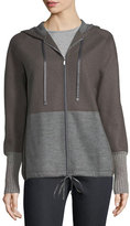 Lafayette 148 New York Zip-Front Colorblocked Wool-Blend Jersey Hoodie