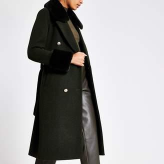 River Island Womens Khaki faux fur collar tie waist coat
