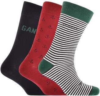 Gant Three Pack Socks Gift Set Navy