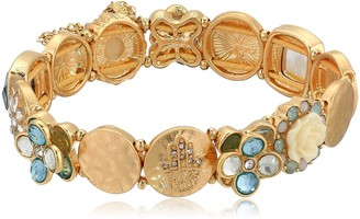lonna & lilly Women's Classics Gold-Tone and Green Stretch Bracelet