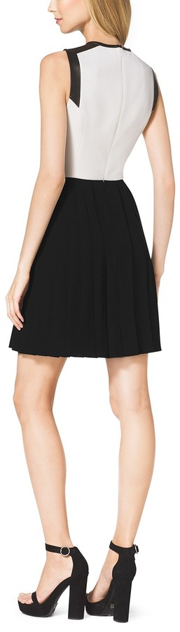 Michael Kors Pleated Stretch-Crepe Boucle Dress
