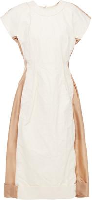 Marni Satin-paneled Crinkled Cotton-twill Dress