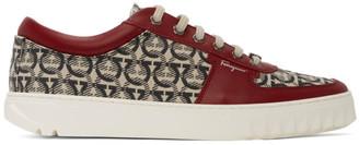 Salvatore Ferragamo Burgundy Jacquard Cube Sneakers