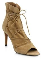 Vince Adisa Suede Lace-Up Peep-Toe Booties