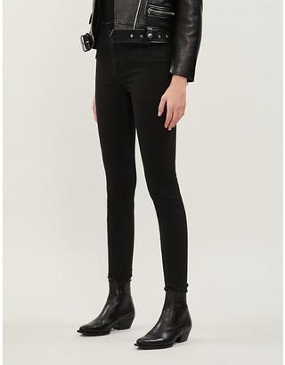 Good American Good Waist cropped high-rise chew hem skinny jeans