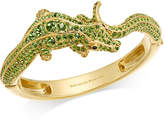 Kate Spade Gold-Tone Green Pavé Alligator Hinged Bangle Bracelet