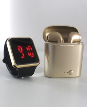Ztech Unisex Led Touch Watch and Wireless Headphones with Portable Charging Case Set