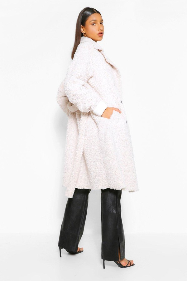 Thumbnail for your product : boohoo Bonded Teddy Faux Fur Trench Coat