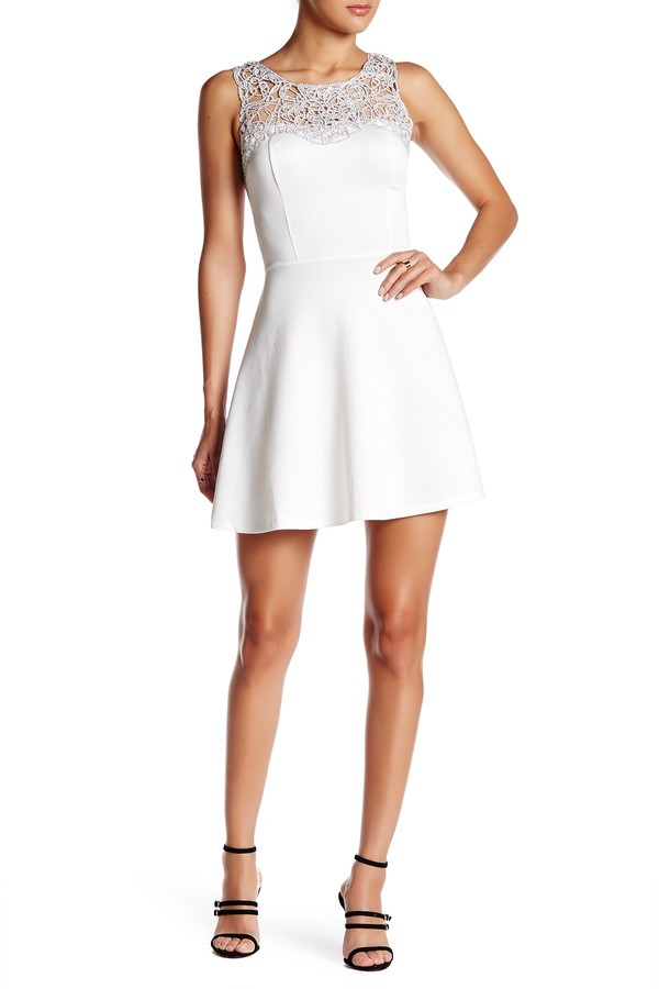 Trixxi Solid Scuba Skater Dress